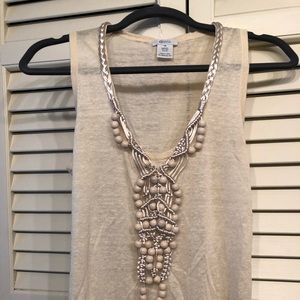 Beaded silk and linen top